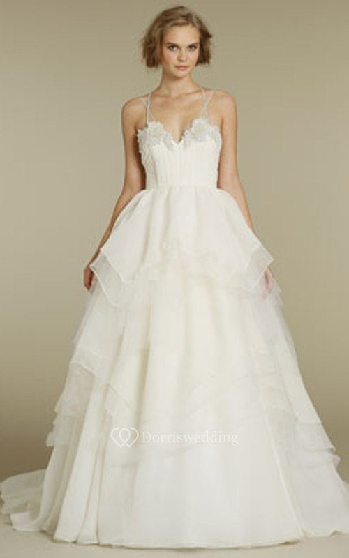 Chic Spaghetti Strap Tulle Organza Ball Gown With Beaded Floral ...