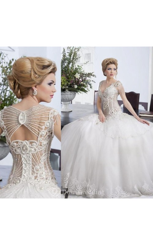 Glamorous Beadings Ball Gown Wedding Dress 2018 Tulle Lace Bridal ...