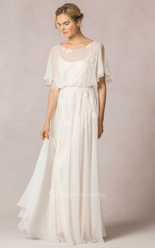 Sheath Scoop-Neck Floor-Length Poet-Sleeve Appliqued Chiffon Wedding Dress With Pleats
