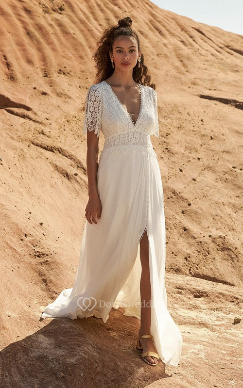 Front Split Plunging Half Sleeve Bohemian Lace And Chiffon Wedding Dress With Open Back