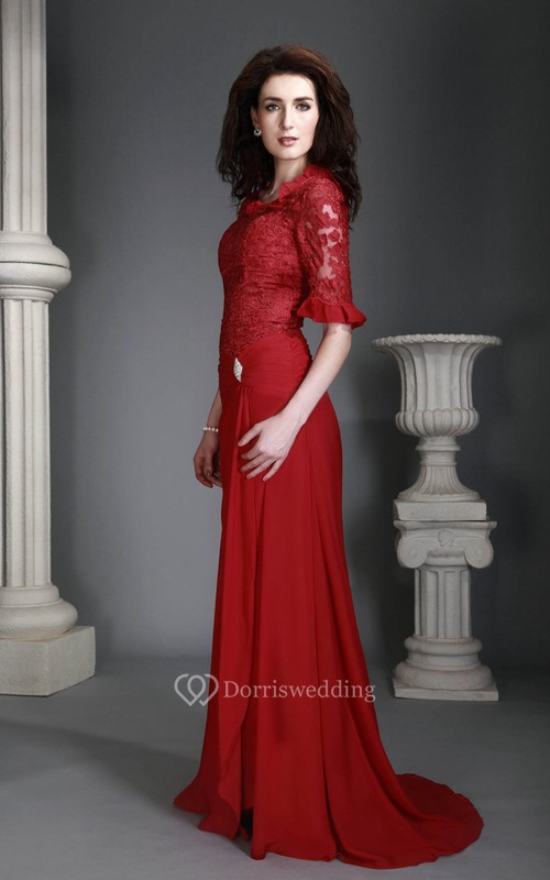 Lace Half-Sleeve Floor-Length Dress With Appliques