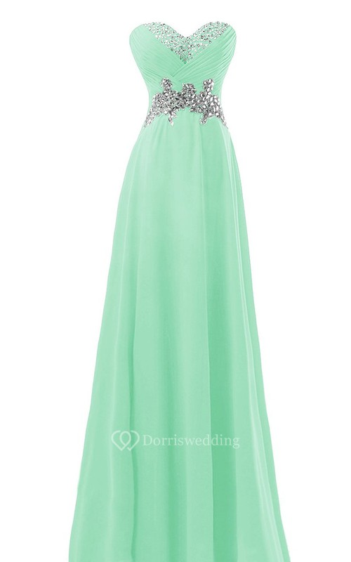 Sweetheart Crystal-beaded A-line Gown With Lace-up Back