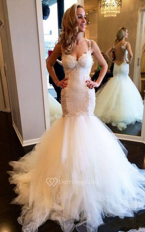 Sexy Sweetheart Spaghetti Straps Illusion Back Lace Appliques Mermaid Wedding Dresses