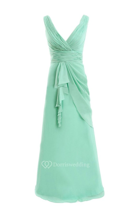 V-neck Drapped Chiffon A-line Gown With Ruched Band