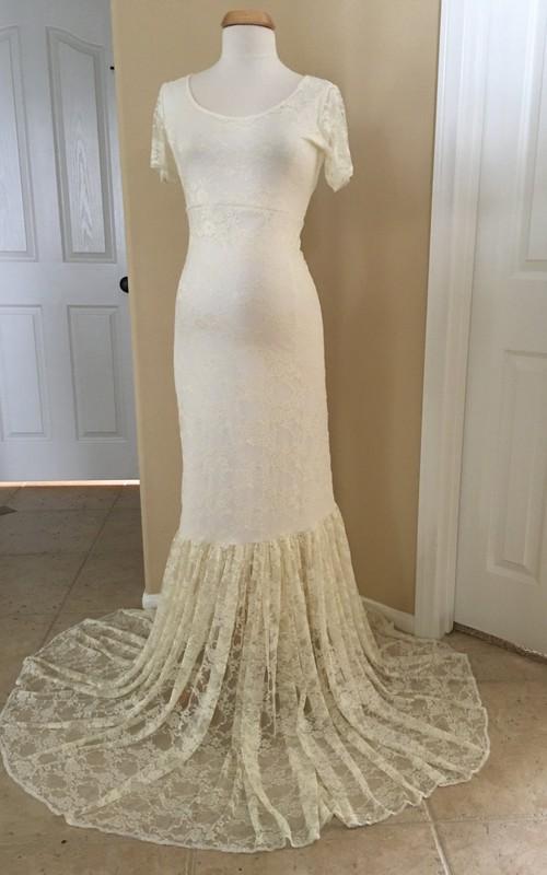 Lace Mermaid Illusion Short Sleeve Scoop Maternity Wedding Dress