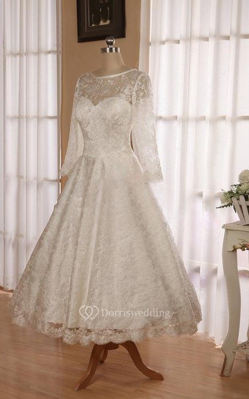 Jewel 3 4 Length Sleeve Low V Back Tea Length Lace Wedding Dress