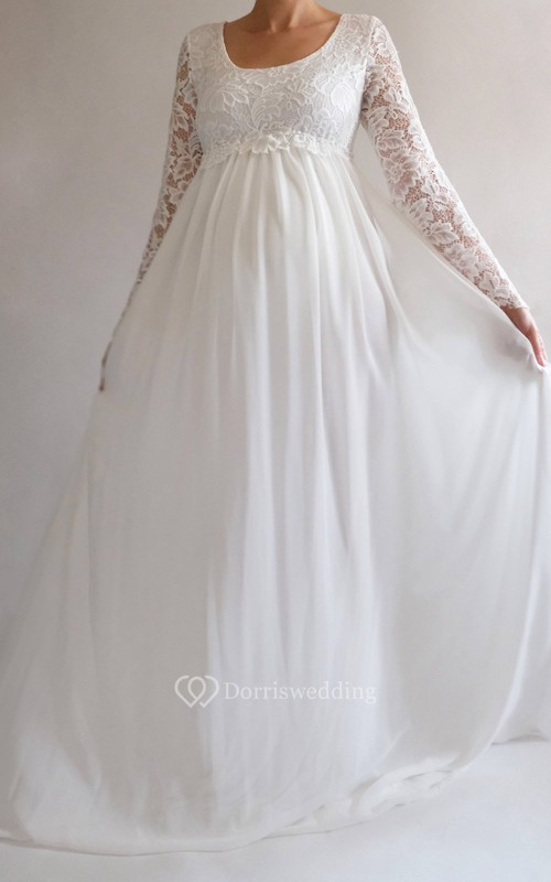 A-line Bell Long Sleeve Empire Maternity Wedding Dress