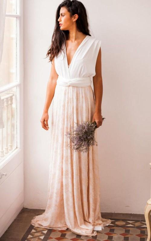 Rustic Rose Quartz Wedding Gold Lace Gown Bridal Pale Pink Beige