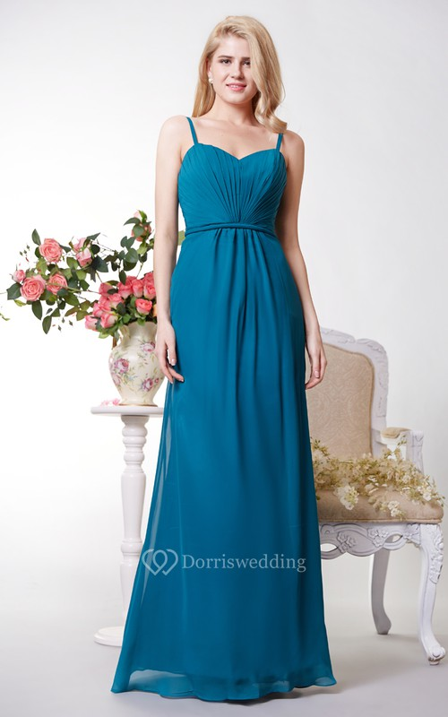 Sexy Spaghetti Straps Chiffon A-line Gown With Pleats