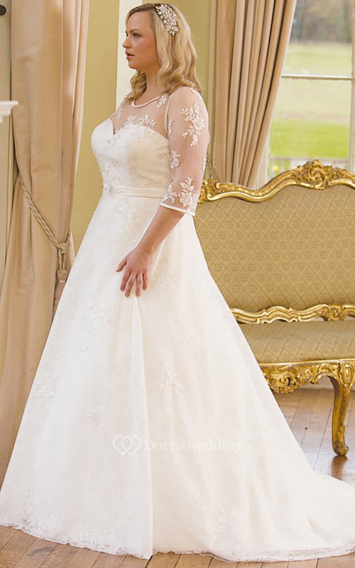 A-Line Scoop-Neck 3-4-Sleeve Lace Plus Size Wedding Dress With ...
