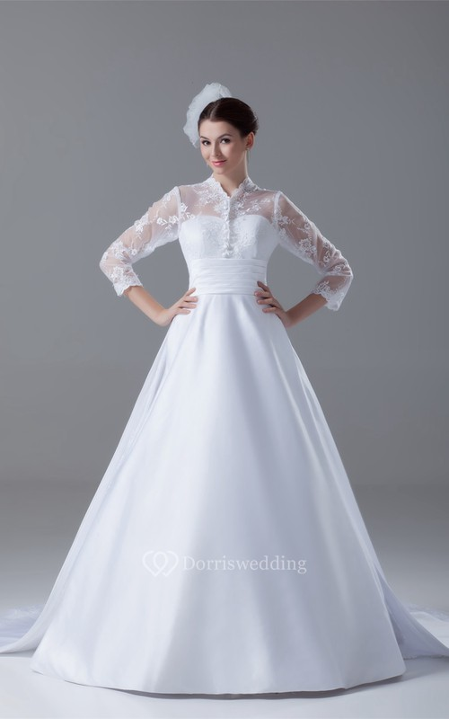 Exquisite Long Sleeve High Neck Satin Appliqued a Line Wedding Dresses