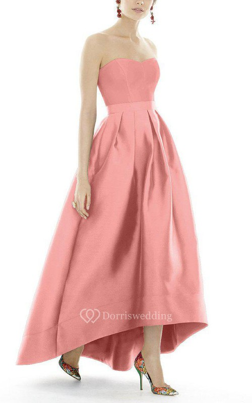 Satin High-low Ball Gown Dress with Pleats - Dorris Wedding