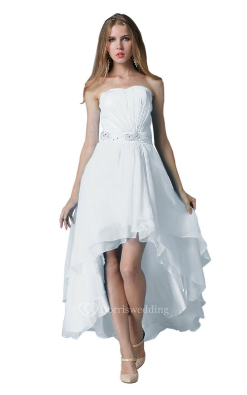 Strapless Ruched Beaded High-low Layered Chiffon Dress