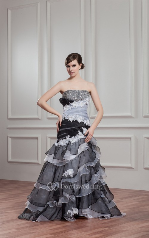 Black-And-White A-Line Tiered Rhinestone and Gown With Flower