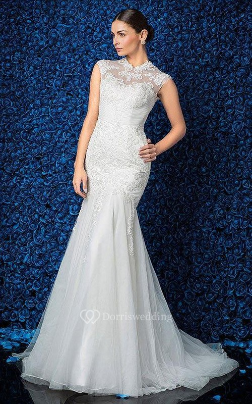 High Neck Sleeveless Mermaid Lace and Tulle Dress With Ruching