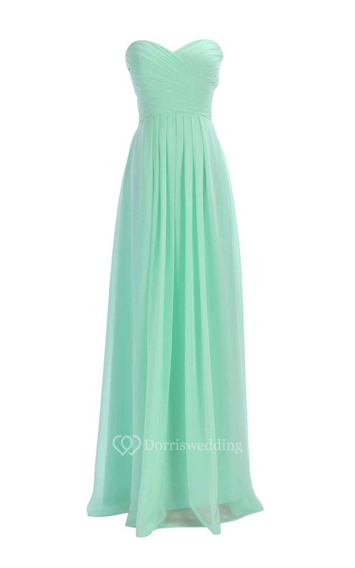 Sweetheart Criss-cross Chiffon A-line Dress With Lace-up Back