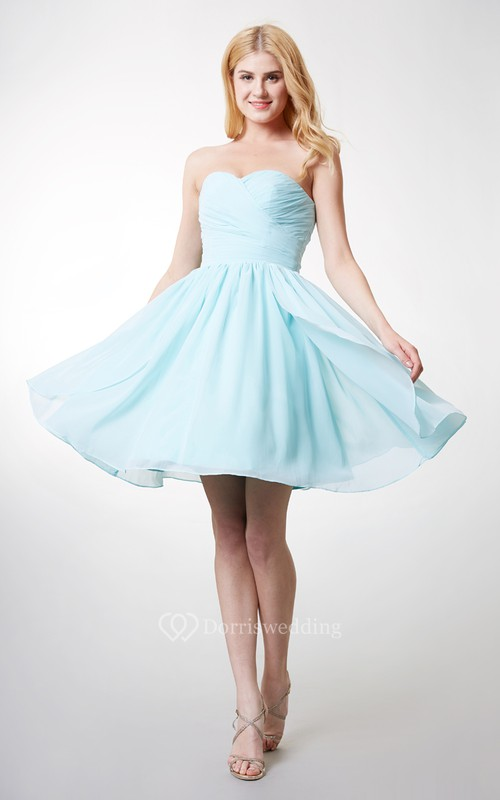 Dainty Bodice-ruched Layered A-line Chiffon Dress