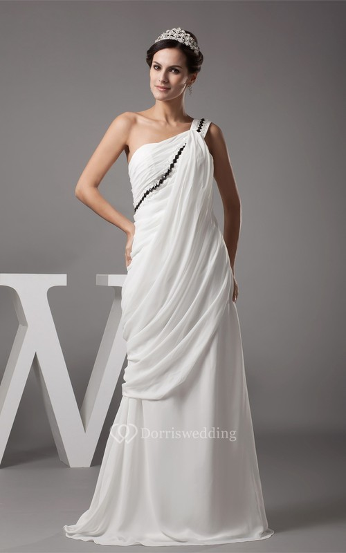 One Shoulder Ruched A-Line Floor Length Dress With Ruffles and Sequins