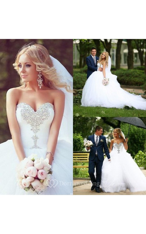 Sweetheart Neckline Crystal Court Train Tulle Bridal Gowns - Dorris ...