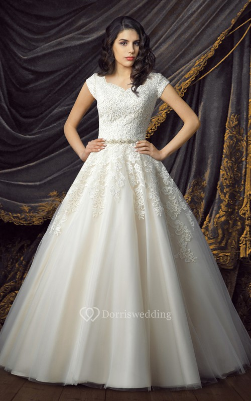 Princess Lace and Tulle Wedding Gown with Glittering Sash