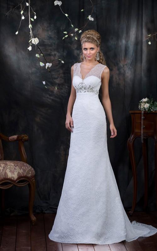V-neck Sheath Lace Wedding Dress With Beading And Sash - Dorris Wedding