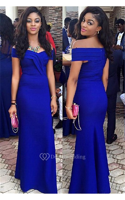 Elegant Royal Blur Mermaid 2018 Prom Dress Off the Shoulder Floor Length Party Gown