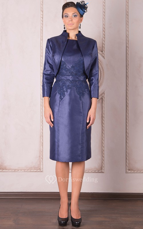 Knee-Length Pencil Appliqued High Neck Long Sleeve Satin Mother Of The Bride Dress