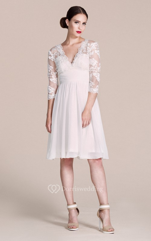 3 4 Sleeved V Neck Knee Length Dress With Lace