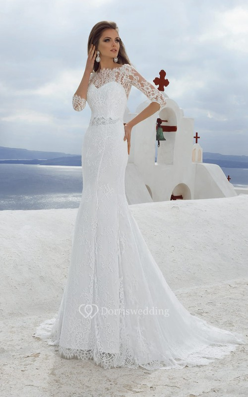 Bateau Neck 3-4 Length Sleeve Sheath Lace Wedding Dress With Beading
