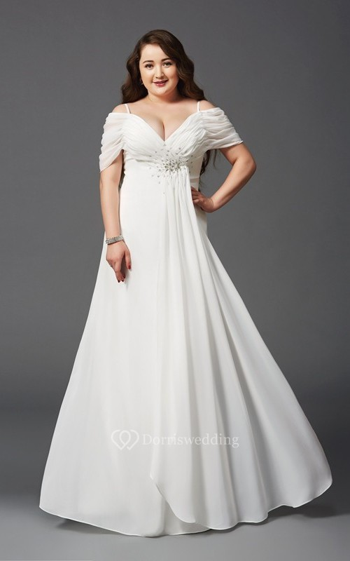 A-line Floor-length Spaghetti Empire Chiffon Ruching Beading Zipper Dress