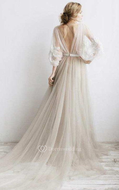 Flowy Illusion Tulle Pleated Dress With Floral Appliques