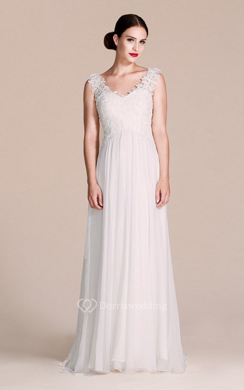 Cap-sleeved V-neck Dress With Lace Bodice