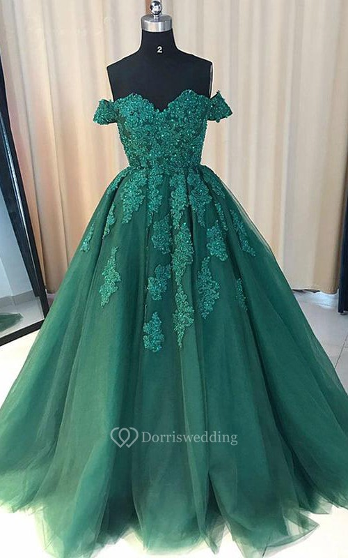 Ball Gown Lace Tulle Off-the-shoulder Short Sleeve Zipper Dress ...