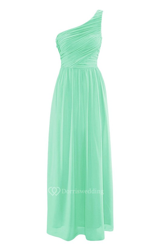 Elegant One-shoulder Ruched Chiffon A-line Gown