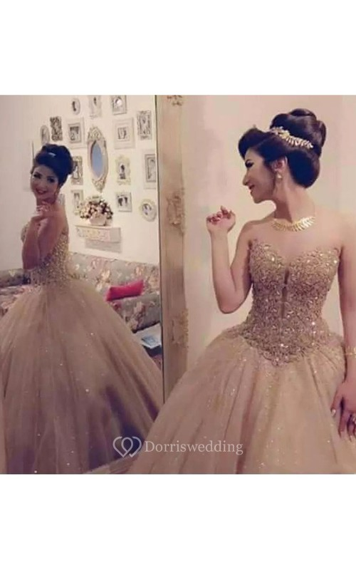 Sweetheart Ball Gown Floor-length Sleeveless Tulle Sequins Prom Dress with Zipper Back