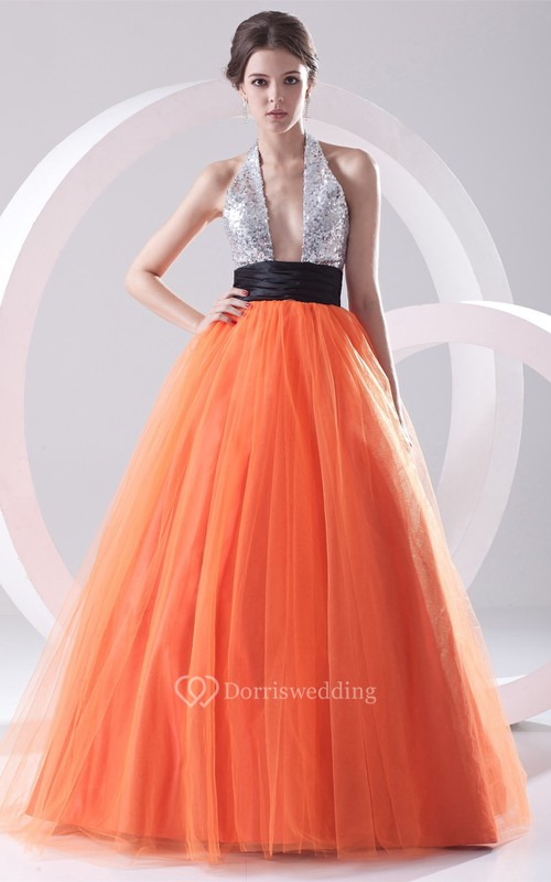 Chic A-Line Sleeveless Ball-Gown With Sequined Top