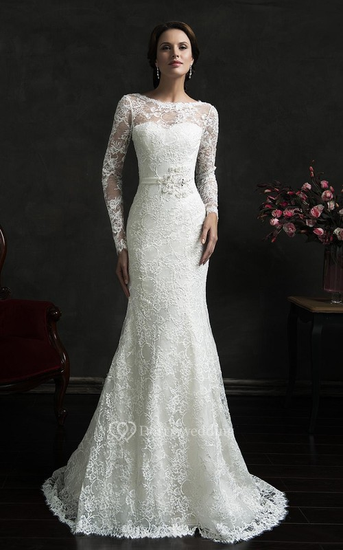 Mermaid Short Long Sleeve Bell Illusion Bat Appliques Illusion Court Train Backless Illusion Lace Dress
