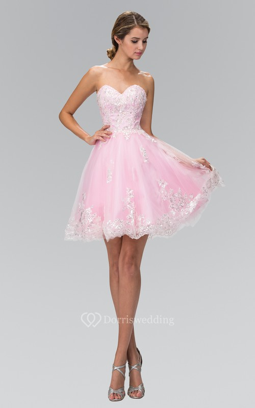 A-Line Mini Sweetheart Sleeveless Tulle Dress With Beading