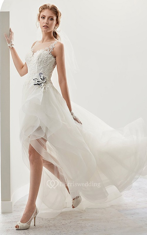 Cap sleeve High-low Bridal Gown with flower Embellishment and ...