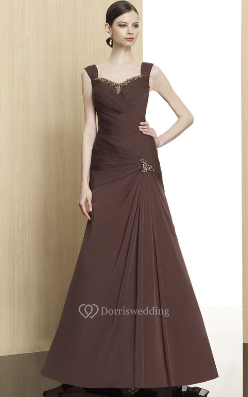 A-Line Sleeveless Beaded Floor-Length Chiffon Formal Dress With Zipper Back And Draping