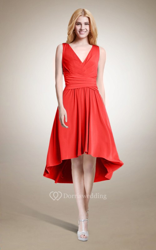 Sleeveless A-line High Low Dress
