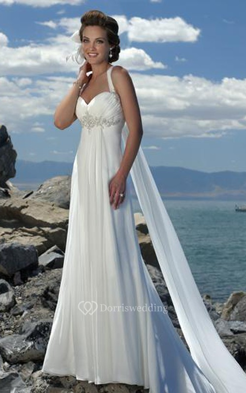 e3d4b2838b10 Empire Waist Spaghetti Straps Brush Train Chiffon Beach Wedding Dress