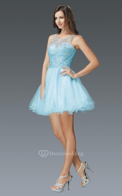 A-Line Mini Scoop-Neck Sleeveless Tulle Dress With Beading