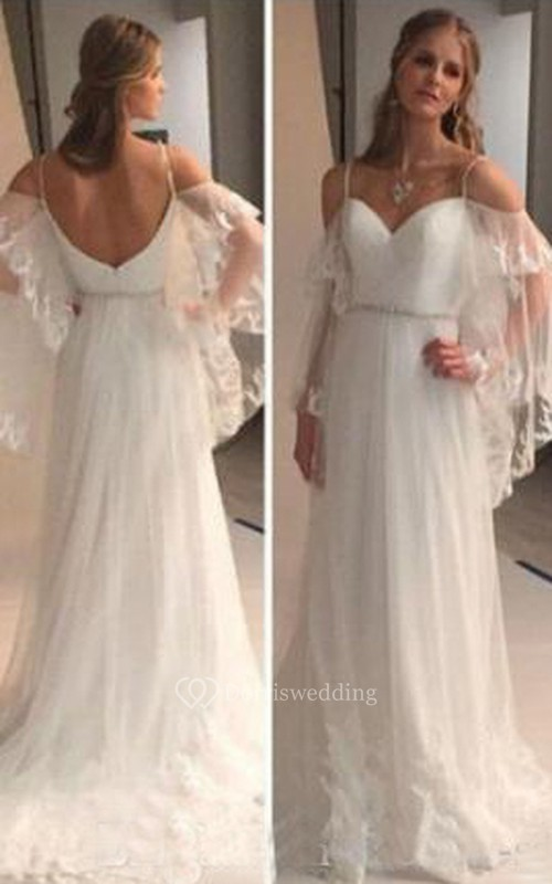Backless Lace Sheer Long Sleeves Lace Beach Bohemian Wedding Bridal ...