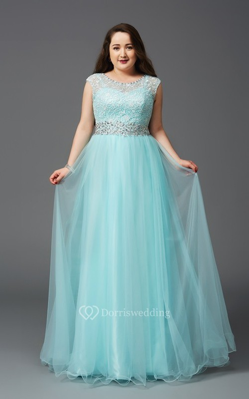 A-line Floor-length Scoop Cap Tulle Lace Waist Jewellery Illusion Dress