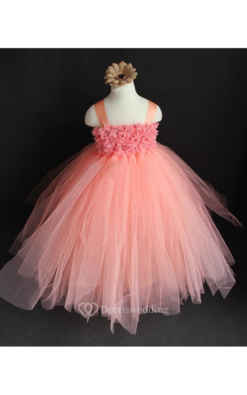Empire Floral Bodice Tiered Tulle Ball Gown With Back Bow