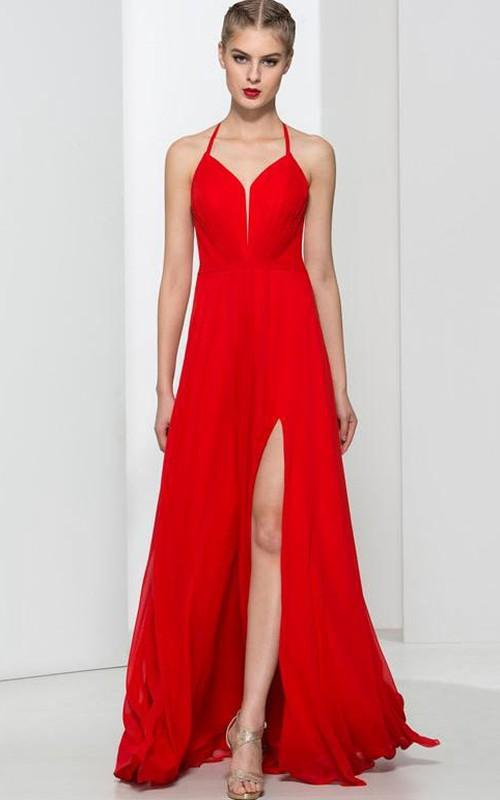 b2e92329a01 Halter Split-Front Criss-Cross Prom Dress - Dorris Wedding