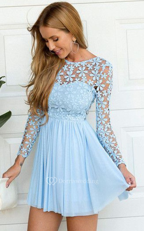 A-line Long Sleeve Chiffon Lace Jewel Zipper Low-V Back Short Mini Homecoming Dress