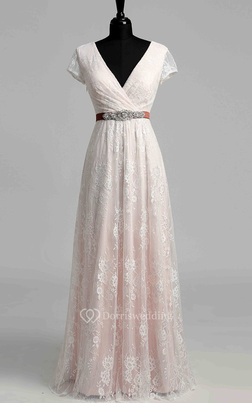 A Line Beach Cap Short Sleeve Wedding Dress