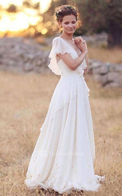 Bohemian Pearls Deep V Neck Backless Flower Beading Sheer Sleeve Pleats Chiffon Wedding Dress